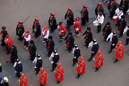 On the occasion of World Cravat Day, Honorary Cravat Regiment made a great spectacle changing of the Guard of Honour of the Cravat, Zagreb Croatia Editorial