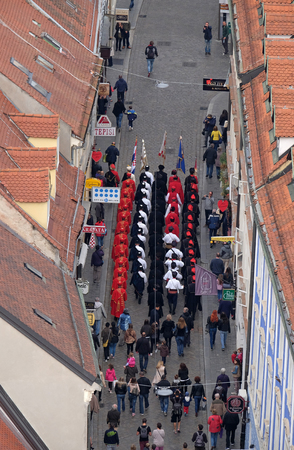 On the occasion of World Cravat Day, Honorary Cravat Regiment made a great spectacle changing of the Guard of Honour of the Cravat, Zagreb Croatia on October 16, 2016