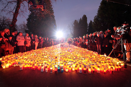 Zagreb cemetery Mirogoj on All Saints Day visited by thousands of people light candles for their deceased family members.