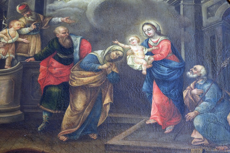 Nativity Scene painting in the convent of the Friars Minor in Dubrovnik