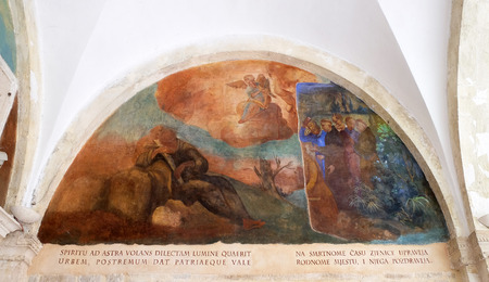 The frescoes with scenes from the life of St. Francis of Assisi, cloister of the Franciscan monastery of the Friars Minor in Dubrovnik, Croatia