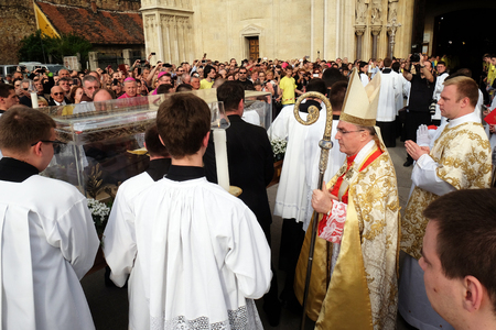 Arrival of the body of St. Leopold Mandic in Zagreb Cathedral, Croatia on April 16, 2016.