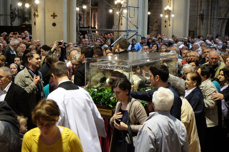 Worshippers gather to look at the relics of St. Leopold Mandic in Zagreb cathedral, Zagreb, Croatia on April 14, 2016. Editorial