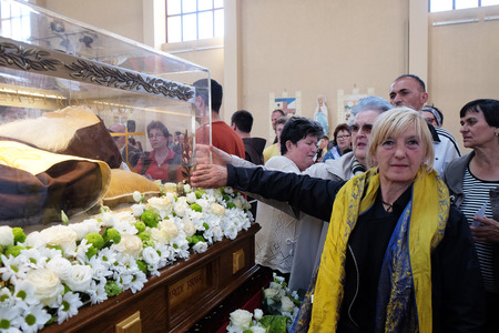 Worshippers gather to look at the relics of St. Leopold Mandic in the parish Church of Saint Leopold Mandic, Zagreb, Croatia on April 16, 2016. Editorial