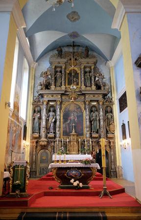 Main altar in the church of Saint Catherine of Alexandria in Krapina, Croatia Editorial