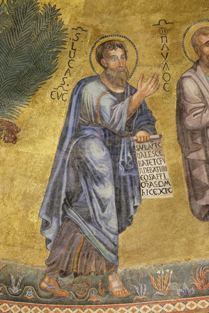 Saint Luke mosaic in the basilica of Saint Paul Outside the Walls, Rome, Italy