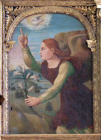 Archangel Gabriel on the altar of the Resurrection of Jesus in the Franciscan church of the Friars Minor in Dubrovnik