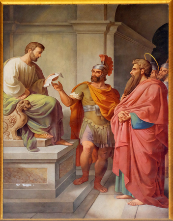The fresco with the image of the life of St. Paul: Paul Before Publius in Malta, basilica of Saint Paul Outside the Walls, Rome, Italy Editorial