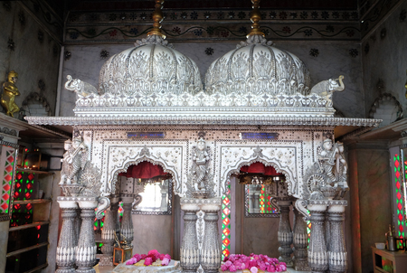 Jain Temple (also called Parshwanath Temple) is a Jain temple at Badridas Temple Street is a major tourist attraction in Kolkata, West Bengal, India 에디토리얼