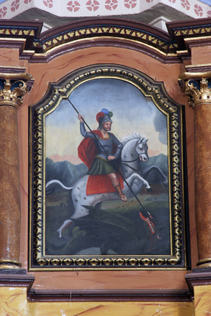 Saint George slaying the dragon, altarpiece in Parish Church of Saint Martin in Martinska Ves, Croatia