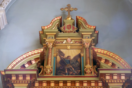 Archangel Michael, altarpiece in the Basilica of the Sacred Heart of Jesus in Zagreb, Croatia Editorial