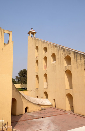 Famous Observatory Jantar Mantar, a collection of huge astronomical instruments in Jaipur, Rajasthan, India Editorial