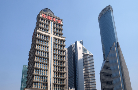 Financial towers in the Pudong east side of Shanghai, China