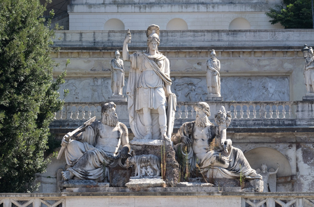 Pincio Terrace, goddess Roma between Tiber and Aniene, Piazza del Popolo in Rome, Italy