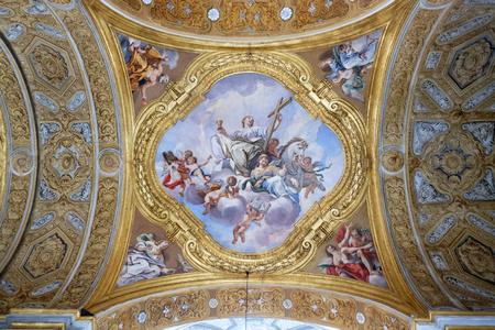 The fresco of virtues on the little cupola of side nave in Basilica dei Santi Ambrogio e Carlo al Corso by Pio Paolini from (1678 - 81), Rome, Italy Banco de Imagens - 97597618