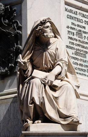Prophet Isaiah by Revelli on the Column of the Immaculate Conception on Piazza Mignanelli in Rome, Italy