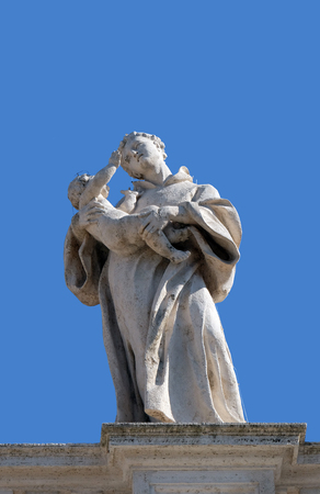St. Anthony of Padua, fragment of colonnade of St. Peters Basilica. Papal Basilica of St. Peter in Vatican, Rome, Italy