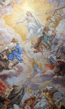 The ceiling fresco (Triumph of Franciscans order - Trionfo dell'Ordine) by Domenico Maria Muratori in church dei Santi XII Apostoli in Rome, Italy Editorial