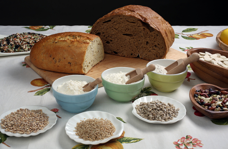 Ingredients for whole grain healthy bread, whole wheat flour, wheat germ Stock Photo