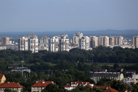 Aerial view of Zagreb, southern part panorama in bright sunny day, Zagreb, Croatia 写真素材