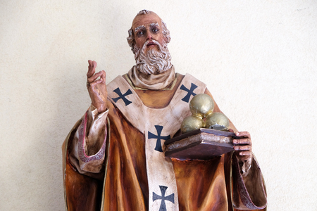 Saint Nicholas statue in St Pauls Cathedral in Tirana, Albania