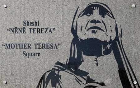 The inscription on the Square of Mother Teresa in the center of Tirana, Albania