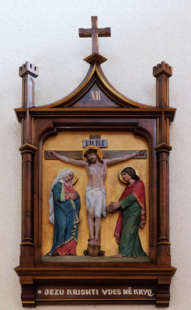 12th Stations of the Cross, Jesus dies on the cross, Mother Teresa cathedral in Vau i Dejes, Albania Stock Photo