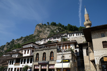 Traditional ottoman houses in old town Berat known as the White City of Albania Editorial