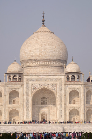 Taj Mahal (Crown of Palaces), an ivory-white marble mausoleum on the south bank of the Yamuna river in Agra, Uttar Pradesh, India Editorial