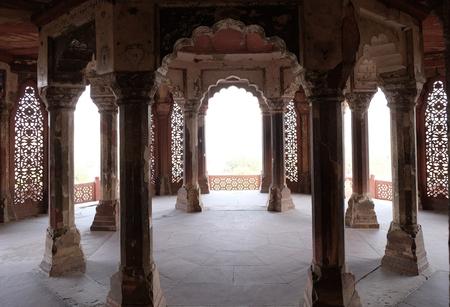 Columns inside palace of Agra Fort, in Agra. Uttar Pradesh, India Editorial
