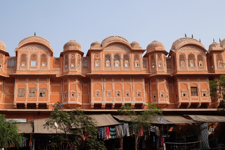 Detail of traditional house in Jaipur, Rajasthan, India