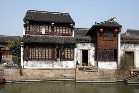 Traditional houses along the Grand Canal, ancient town of Yuehe in Jiaxing, Zhejiang Province, China