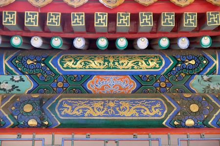 An ornate painted ceiling on a building in the Forbidden City in Beijing