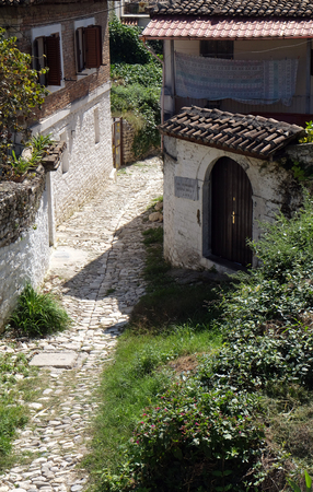 Traditional ottoman house in old town Berat known as the White City of Albania