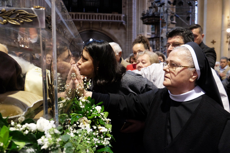 Worshippers gather to look at the relics of St. Leopold Mandic in Zagreb cathedral, Zagreb, Croatia