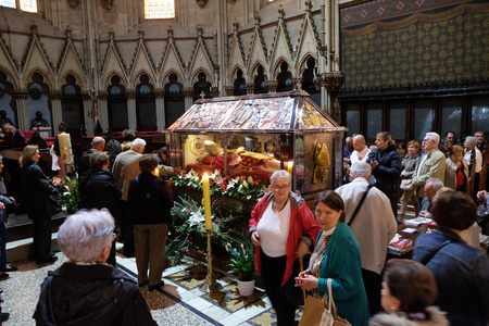 Worshippers gather to look at the relics of blessed Aloysius Stepinac in Zagreb cathedral, Zagreb, Croatia