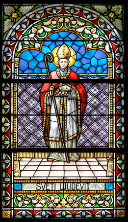 Saint Louis stained glass window in the church of Saint Catherine of Alexandria in Krapina, Croatia