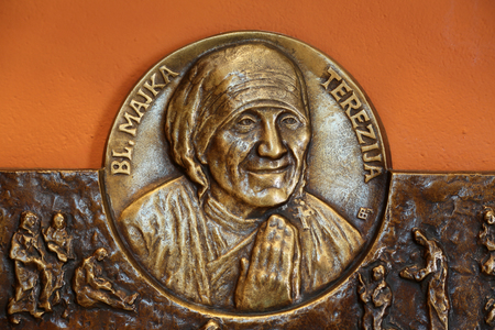 Saint Mother Teresa of Calcutta relief in Chapel of Saint Dismas in Zagreb, Croatia Editorial