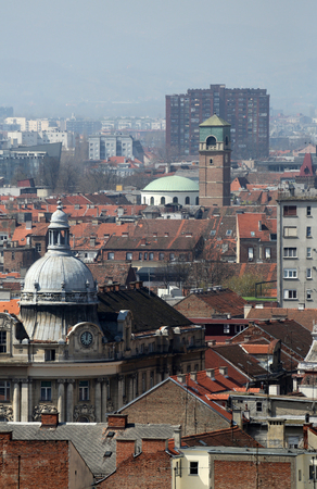 Panorama of the city with the church of St. Blaise in the background in Zagreb, Croatia Stock Photo