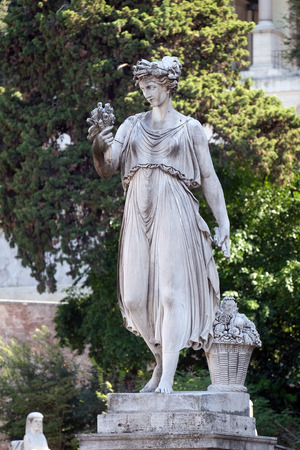 Allegorical statue of Summer, Piazza del Popolo in Rome, Italy