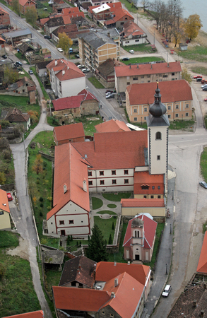 Parish Church of Saint Nicholas in Hrvatska Kostajnica, Croatia Stock Photo