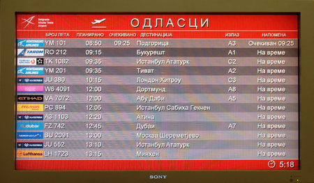 Flight board at the airport in Belgrade airport, on March 03, 2016 in Belgrade, Serbia.