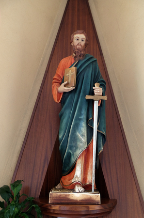 Saint Paul the Apostle statue in St Pauls Cathedral in Tirana, Albania. Stock Photo