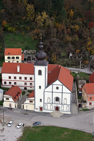 Parish Church of Saint Nicholas in Hrvatska Kostajnica, Croatia Фото со стока