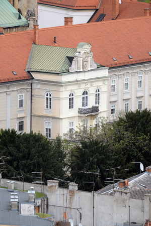 The facade of the Archbishop's Palace in Zagreb, Croatia