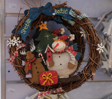 Advent wreaths for sale. Advent in Zagreb Fair was voted as the European Best Destination for 2016. Фото со стока