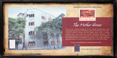 The board at the entrance to Mother house, established by Mother Teresa and run by the Missionaries of Charity in Kolkata, India Editorial