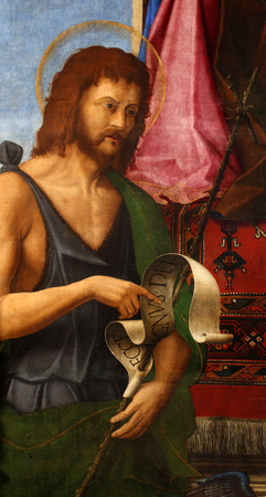Girolamo da Santa Croce: Saint John the Baptist, Altarpiece in Church of the Assumption of the Blessed Virgin Mary in Vis, Croatia