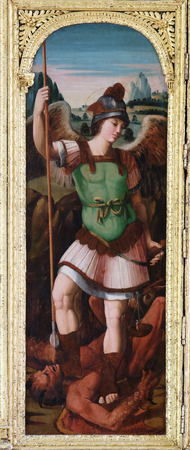 Saint Michael on the altar of the Resurrection of Jesus in the Franciscan church of the Friars Minor in Dubrovnik Editorial