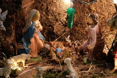 Nativity Scene, Christmas creche in St. Mary church in Zagreb, Croatia